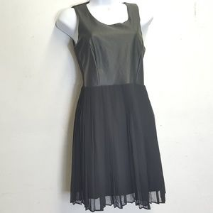 Sparkle and Fade Faux Leather Chiffon Dress
